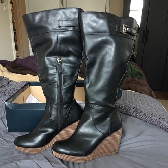 58c44455200a Dr Scholl s black Heathrow wedge boot Wide Calf